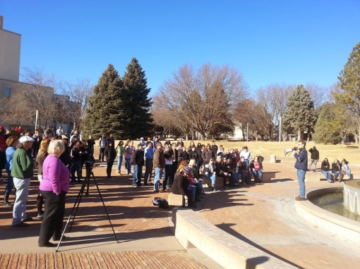 Tim McGettigan addressing a rally at CSU-Pueblo last Friday.
